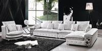 Modern Design, Leather + Fabric Sofa Set,L shaped sectional sofa + Leisure rolling chair, low price sofa furniture set E315