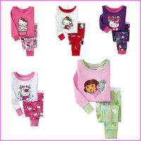 Children's Long-sleeved Cotton Pijamas Set For Boys&Girls Cartoon Kids Pajamas Kitti Sleepwear 2 Piece