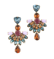 Women Fine Jewelry Jeweled Fan Drop Earrings A Mix of Glass and Resin Stones Pretty Color Palette Free Shipping Top Quality