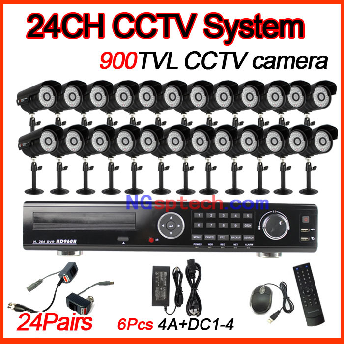 Newest arrival 24CH CCTV Security System Kit with Waterproof CMOS 900TVL Night view IR Cameras Surveillance cctv diy kit system(China (Mainland))
