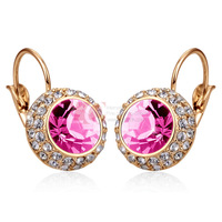 LQ Fashion Earrings Gold Over Nickel-free Alloy Earrings Set Pink Color Swiss Diamond Moon River 18K Rose Gold Plated Earrings