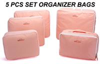 5 pcs Set Women Packing Organizers Travel Accessories Nylon Pink Luggage Bags Organizadores Para Casa Waterproof Bag 2014 New