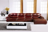 Hot Sale Luxury Italian Top Grain leather,Smart High back L Shaped Sofa,Low price promotion home furniture Sofa E363