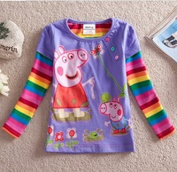 NOVA 100% cotton new 2014 autumn -summer kids wear boys girls children's clothing long sleeve peppa pig t shirts