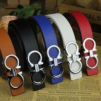 Silver Color Letter Buckle Men Belts Women Belts Male Waitst Strap Famous Brand Luxury Design Belt Alloy Smooth Buckle