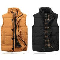 2014 autumn winter hot vest for men casual slim mens sleeveless jacket male vest black/khaki