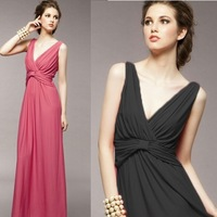 Long evening dress 2014 new arrival hot&sexy v-neck party prom dresses party evening elegant vestidos de fiesta  gowns
