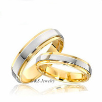 5MM For Men, 3.5mm For Women Pure Titanium 18K Yellow Gold Plated Comfort Fit Wedding Ring 2PCS/LOT All Sizes G&S001TRS