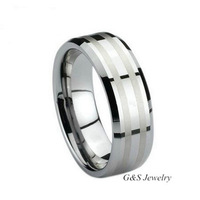8MM Tungsten Carbide Men's Wedding Band Ring in Comfort Fit and Brush Center Size 4-16 Free Shipping G&S020WR