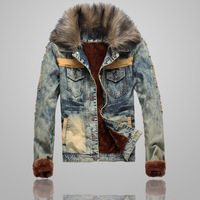 2013 William winter denim jacket Men large fur collar Jeans Coat Torn Jeans Distrresed thickening denim outerwear Slim Body