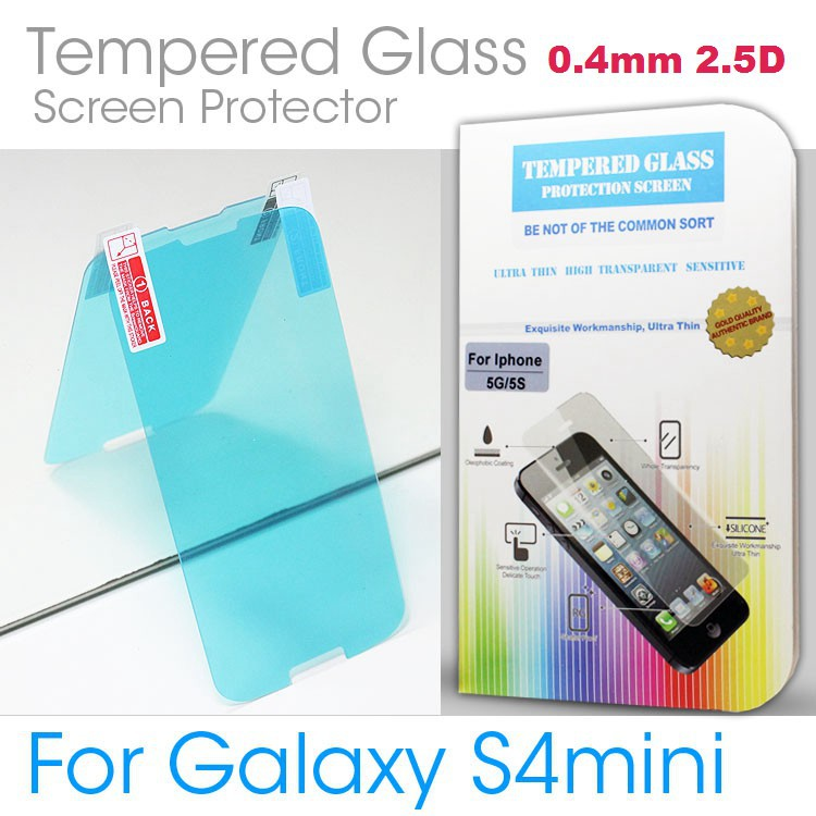 For Samsung Galaxy S4 Mini I9190 2.5D Border Round Angle 0.4mm Premium Tempered Glass Screen Protector Retail Box Free Shipping(China (Mainland))