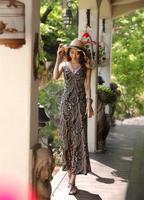 New European Style Women Lady Fashion V-neck Spaghetti Strap Long Dress Printing Dress