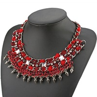 high quality2013new brand fashion jewelry luxury red black rope chain pendant choker statement necklace for women length 45cm