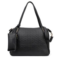 New Korean Lady PU Leather Messenger Handbag Fashion Shoulder Bag Big Black Totes Purse #L09207