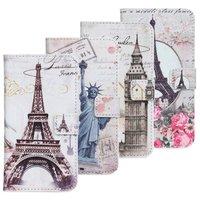 statue of liberty eiffel flower big ben London Paris New york pu leather  wallet phone case cover for GOOGLE LG Nexus5 E980