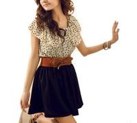 Korean Women Chiffon Fashion Dress Short Sleeve Dots Polka Waist Mini S/M/L