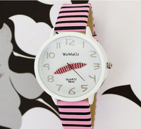 Big Case Pencil Hand Girl Lady Quartz pu Leather Analog Wrist Watch