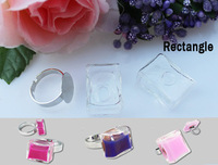 2PCS 17X24MM Rectangle Liquid Rings,glass bubble Liquid rings,Glass Globe Bubble Vial rings,glass bottle rings