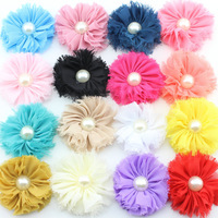 7cm large pearl inlay shabby flower flower burr accessories chiffon ribbon