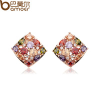 Bamoer Hot Sell Luxury 18k Rose Gold Stud Earrings with Colorful Zircon Crystal Women Engagement Jewelry JIE006