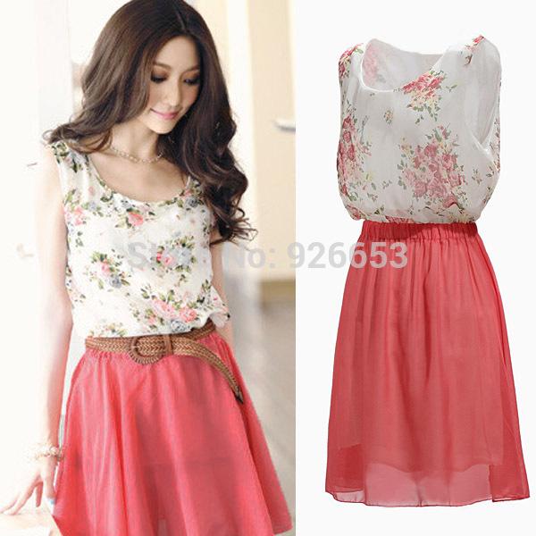 HOT Sale 2014 New Summer Women Chiffon Sundress Young Girls Casual Sleeveless Dress Flower Patterns Vestidos Dresses Plus Size(China (Mainland))