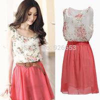 HOT Sale 2014 New Summer Women Chiffon Sundress Young Girls Casual Sleeveless Dress Flower Patterns Vestidos Dresses Plus Size
