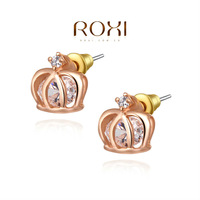 ROXI Fashion Jewelry Free Shipping Christmas Gift Queen Crystal Earrings For Friend Brincos Grandes Rose Gold Plated Earrings