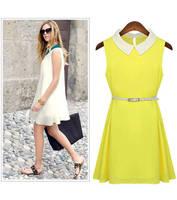 2014 new women chiffon princess dress chiffon dress spring models in Europe and America big doll collar Slim Waist Tank Dress
