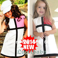 Q--2014 new  girl party dress sleeveless dress stitching Mixed color cotton Material  tcq 004 -4