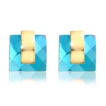 Viennois Fashion Blue Crystal Rhinestone Square Stud Earrings new