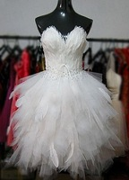 2015 Fashion Short Prom Dress Real Photo Feather Prom Dresses Beaded  Lace Up Party Dresses Made In China  Z76