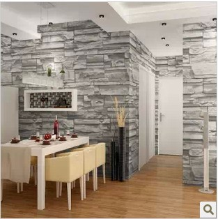 Chinese style dining room 3d wallpaper stone brick design - Papier peint fausse pierre ...