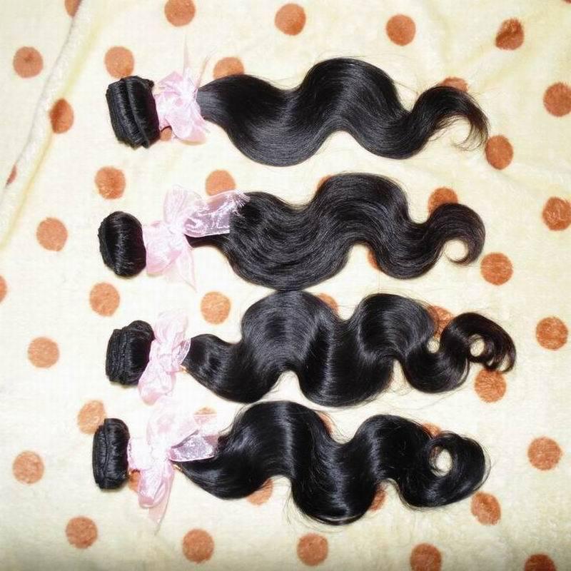 Perfect 6A Human hair 100% non-processed raw Eurasian wavy wefts,4pcs/lot 95-100g/piece,color #B, free shipping(China (Mainland))