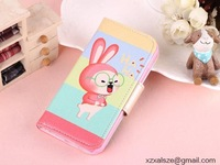 New Arrival Korean fashion mobile phone bags & cases accessories Cute Rabbit Leather phone Case for Iphone 4/4S/5/5S/5C