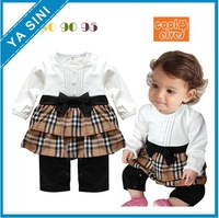 2013 New baby romper girl's fashion cotton Plaid bow baby jumpsuit,infant rompers bodysuit baby clothing wear free shipping