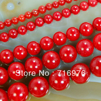 "4mm 6mm 8mm 10mm 12mm 14mm  Red Coral Round Beads 15.5"" Pick Size Free Shipping-F00080"