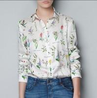 new 2014 women clothes spring summer chiffon elegant all-match Herbs casual spirals shirt blouse
