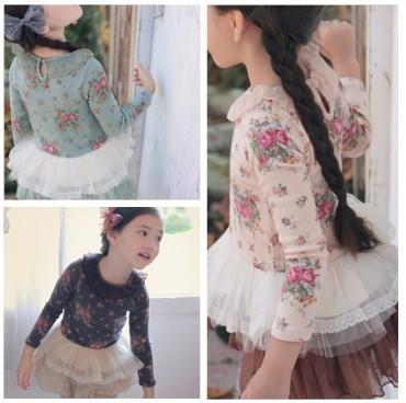 2014 New Spring 5PC/lot Floral Print Cotton Patchwork Gauze  Long Sleeve Baby Girl Shirt Baby Princess T Shirt Children wear(China (Mainland))