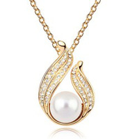 Wholesale Fashion 18K white gold plated women Angel pearl pendant necklace