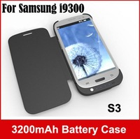 100pcs/lot , 3200mAh External Power Bank Backup Battery Pack Adapter Charger Case With Leather Cover For Samsung Galaxy S3 i9300