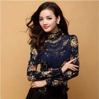 2014 Women New Elegant Turtleneck Long Sleeve Shirt Fashion Printed Slim Lace Hollow Out Crochet Plus Size Blouse S~XXL