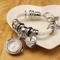 Unique  design Weave leather Strap Women's Vintage Watches Heart pandent Bracelet  Wristwatches,ladies dress,Hot Sale