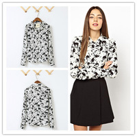 2014 new  style rivet models kitty graffiti hot drill collar long-sleeved shirts woman blouse  wf-3129