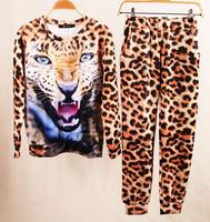 New 2014 sport suit women's animal leopard tiger 3D print sport hoodies fashion clothing set sportswear sweater sweatshirt