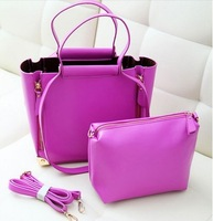2014 2pc/set casual messenger bag candy color women genuine leather totes handbag cowhide lady's one shoulder bag free shipping