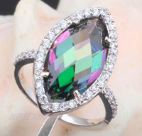Wholesale Price Royal Rainbow Topaz  AAA Zirconia Silver 925 Fashion Jewelry party Ring USA Size  #6.5  MR022