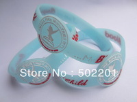 Free Shipping!!! Promotional gifts Custom Debossed Silicone Wristband Bracelet with 1 color fill in