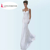 The Most Popular Style 2014 Spaghetti Straps Sexy Wedding Gown and Wedding Dress Lace White