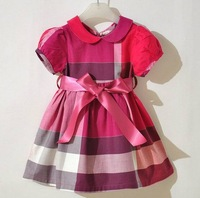 British brand plaid short sleeve 100% cotton kids summer dress princess girls clothes 2 3 4 5 6 years old