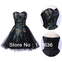 Sexy Strapless Tulle Distinctive Embroidery Peacock Pattern Black Homecoming Gown Short Cocktail Party Dresses 2014 CL4975